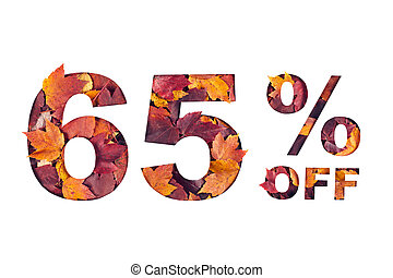 text 65 percent off filled with texture of red fall maple leaves