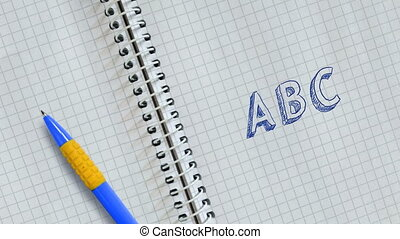 Text ABC handwritten on sheet of notebook and animated.