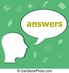 Text Answers on digital background. Education concept . Head with speech bubble