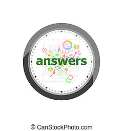 Text Answers on digital background. Education concept . Set of modern flat design concept icons for internet marketing. Watch clock isolated on white background
