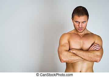 text., armen, gespierd, plek, folded., model, mannelijke