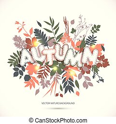 Text autumn in paper style on multicolor background with autumn leaves. Fall style for autumn sale.