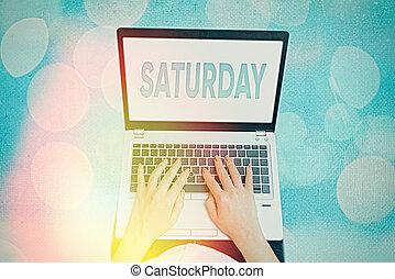 text, avkopplande, första, moment., tid, begrepp, helg, fritid, dag, semester, betydelse, saturday., handstil