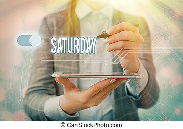 text, avkopplande, första, moment., tid, begrepp, skrift, helg, fritid, dag, semester, betydelse, saturday., handstil