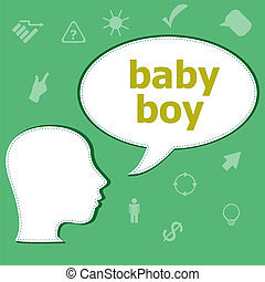Text Baby boy on digital background. Information concept . Head with speech bubble