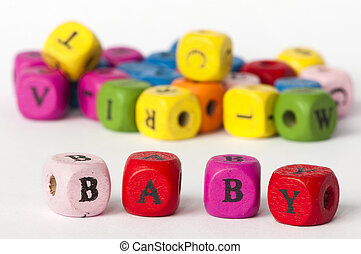 Text baby on colorful cubes