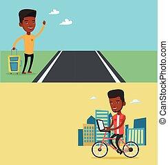 text., banieren, vervoer, twee, ruimte