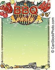 text, barbecue, bakgrund, utrymme