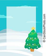 text, baum, ort, girlanden, dekoriert, weihnachten
