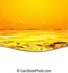text, below., gul fond, vågor, apelsin, vit