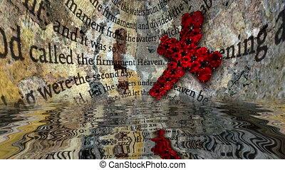 text, bibel, rotes , wasser, kreuz, zurückwerfend