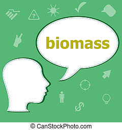 Text Biomass on digital background. Social concept . Head with speech bubble