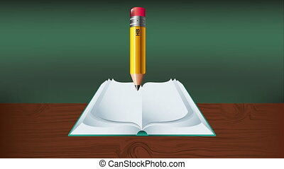 text book and pencil education supply animation - text book...