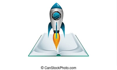 text book and rocket education supply animation - text book...
