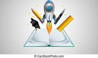 text book and rocket with education supplies animation -...