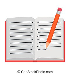 text book open with pencil writing