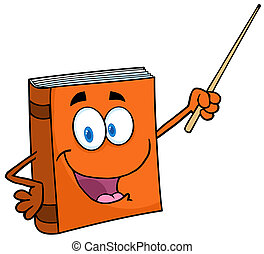 Text Book With A Pointer - Text Book Cartoon Character With...