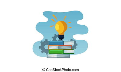 text book with gears and bulb