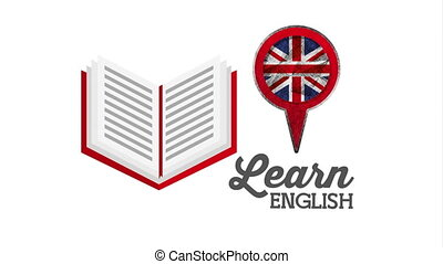 text book with learn english animation