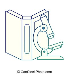 text book with microscope