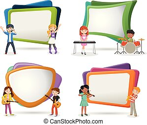Text box frame background with cartoon children playing on a rock'n'roll band