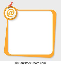 text box with email icon and pushpin