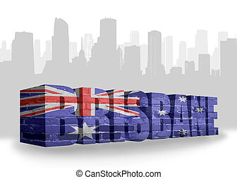 text Brisbane with national flag of australia near abstract...