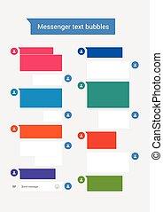 text, bubblar, budbärare