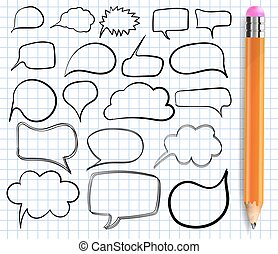 Text bulbs on notebook paper. VECTOR. Set of frames with realistic pencil.