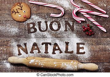 text buon natale, merry christmas in italian - high-angle...