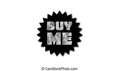 Text 'Buy me' on white background. Scribble effect. 3d...
