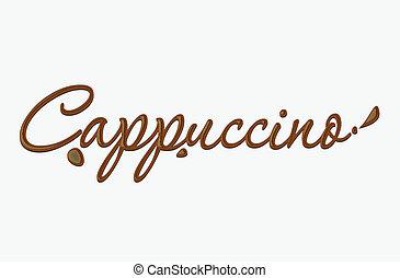 text, cappuccino, čokoláda