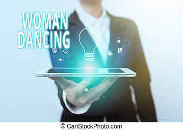 Inspiration showing sign Woanalysis Dancing, Business overview confident that dances gracefully and professionally Lady In Suit Presenting Mobile Device With Futuristic Interface Tech.
