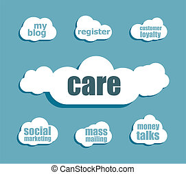 Text Care. Social concept . Design with abstract speech bubble set