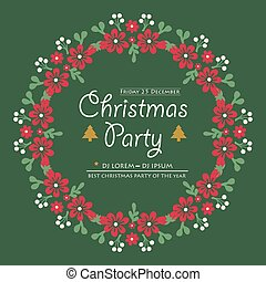Text christmas party background, with pattern art leaf flower frame. Vector