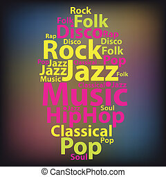 Text cloud. Music wordcloud. Tag concept. Vector...