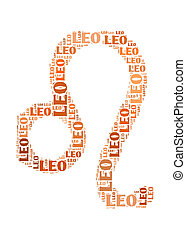Text cloud: silhouette of leo