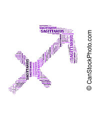 Text cloud: silhouette of sagittarius