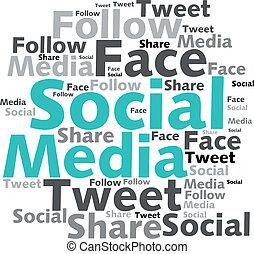 Text cloud. Social media wordcloud. Typography concept. Vector illustration.