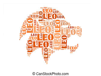 Text cloud: symbol of leo