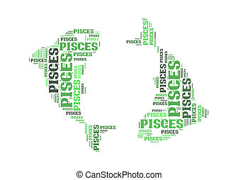 Text cloud: symbol of pisces
