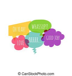 Text colorful speech bubble icons glitch style