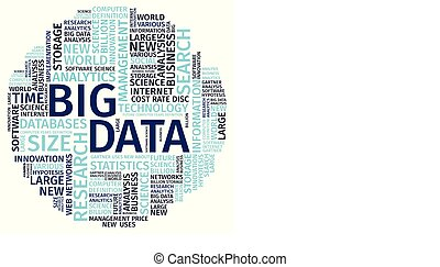 Text Composition Word Cloud Big Data Vector Illustration .