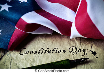 text constitution day and flag of USA