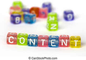Text Content on colorful wooden cubes over white