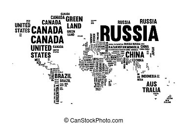 Illustration of world map with country name vector clipart