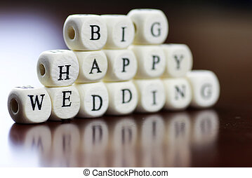 text cube happy wedding