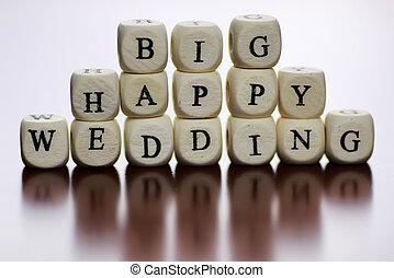 text cube happy wedding