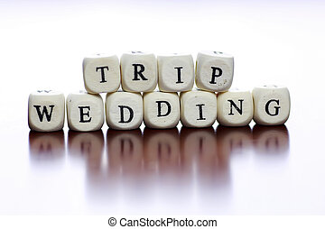 Text Cube Honeymoon White Wooden With English Letter Wedding