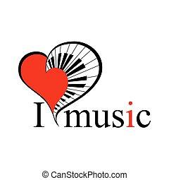 text., cuore, vettore, musica